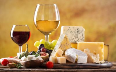 Illustrated talk with cheese and wine